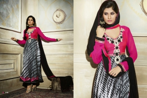 Look N Buy Multicolor Embroidery Work Unstitched Dress Material 187-2108