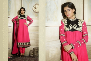 Look N Buy Pink Embroidery Work Unstitched Dress Material 187-2110