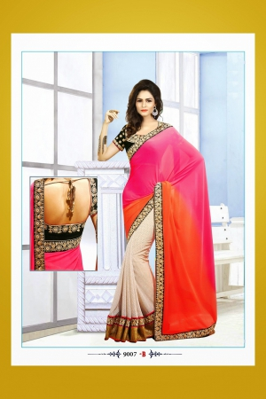 Look N Buy Multicolor Embroidery Work Designer Saree 188-9007 B