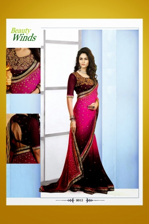 Look N Buy Multicolor Embroidery Work Designer Saree 188-9012