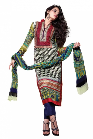 Look N Buy Multicolor Embroidery Work Unstitched Dress Material 189-101
