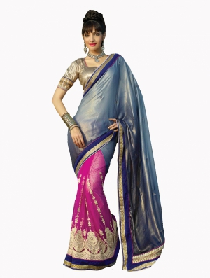 Look N Buy Multicolor Embroidery Work Designer Saree 190-3049