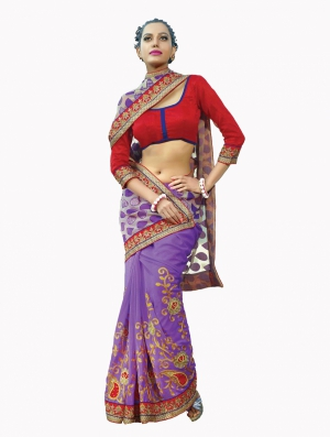 Look N Buy Multicolor Embroidery Work Designer Saree 190-3054