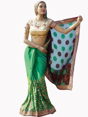 Look N Buy Multicolor Embroidery Work Designer Saree 190-3055
