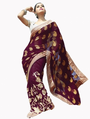 Look N Buy Multicolor Embroidery Work Designer Saree 190-3056
