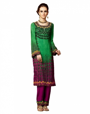 Look N Buy Green Embroidery Work Unstitched Dress Material 191-5102