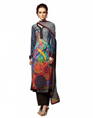 Look N Buy Multicolor Embroidery Work Unstitched Dress Material 191-5105