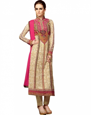 Look N Buy White and Beige Embroidery Work Unstitched Dress Material 191-5106