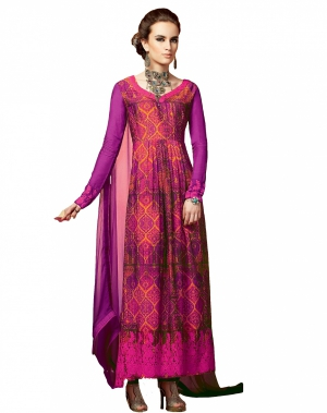 Look N Buy Pink and Orange Embroidery Work Unstitched Dress Material 191-5109