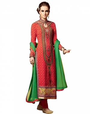 Look N Buy Red and Green Embroidery Work Unstitched Dress Material 191-5110