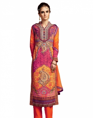 Look N Buy Multicolor Embroidery Work Unstitched Dress Material 191-5111