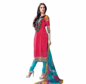 Look N Buy Multicolor Embroidery Work Unstitched Dress Material 193-5900A