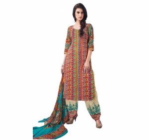 Look N Buy Multicolor Embroidery Work Unstitched Dress Material 193-5901A