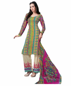 Look N Buy Multicolor Embroidery Work Unstitched Dress Material 193-5901B