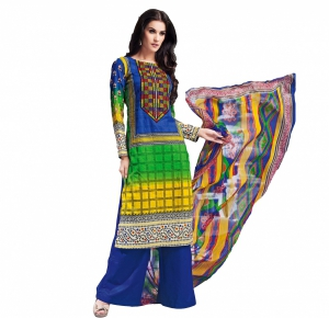 Look N Buy Multicolor Embroidery Work Unstitched Dress Material 193-5902A