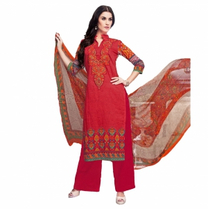 Look N Buy Red Embroidery Work Unstitched Dress Material 193-5904B