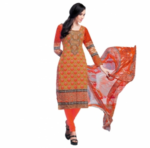 Look N Buy Orange Embroidery Work Unstitched Dress Material 193-5905A