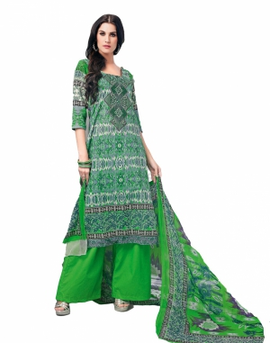 Look N Buy Green Embroidery Work Unstitched Dress Material 193-5905B