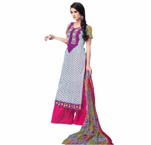 Look N Buy White Embroidery Work Unstitched Dress Material 193-5906B