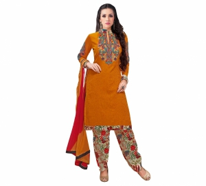 Look N Buy Yellow Embroidery Work Unstitched Dress Material 193-5908