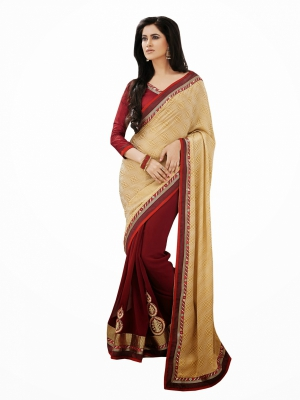 Look N Buy Maroon Embroidery Work Designer Saree 194-50116