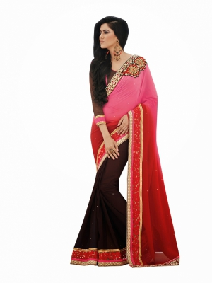 Look N Buy Brown Embroidery Work Designer Saree 194-50129