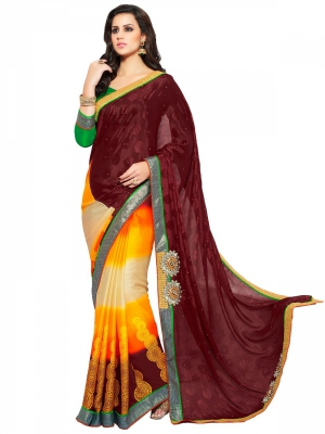 Look N Buy Multicolor Embroidery Work Designer Saree 211-9006