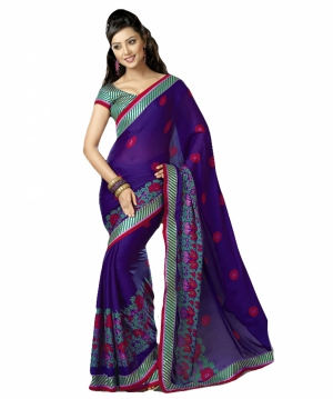 Look N Buy Blue Embroidery Work Designer Saree 227-6029