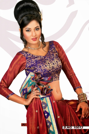Look N Buy Red Embroidery Work Designer Saree 228-10013A