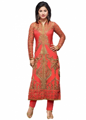 Look N Buy Pink Embroidery Work Unstitched Dress Material 238-55010