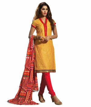 Look N Buy Yellow Embroidery Work Unstitched Dress Material 242-39010