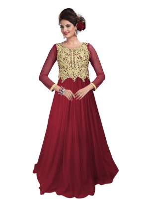 Look N Buy Red Embroidery Work Designer Stylist Gown 246-103
