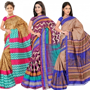 A G Lifestyle Bhagalpuri Silk Special Collection Of 3 Pieces Saree Combo  AG5105-10-19