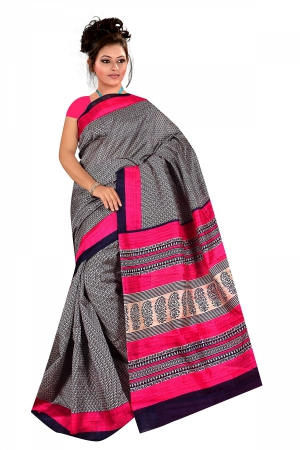 A G Lifestyle Black And Pink Bhagalpuri Silk Saree with Unstitched Blouse AG5186