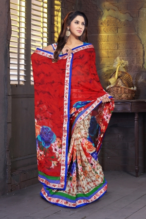 A G Lifestyle Red Faux Georgette Saree with Unstitched Blouse KVY4002