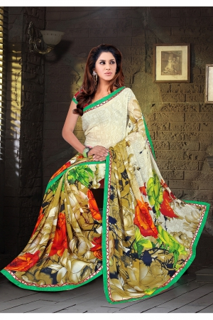 A G Lifestyle Beige Faux Georgette Saree with Unstitched Blouse KVY4003