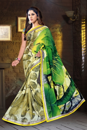 A G Lifestyle Green Faux Georgette Saree with Unstitched Blouse KVY4007