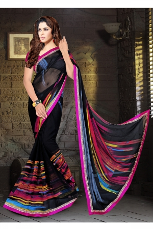 A G Lifestyle Black Faux Georgette Saree with Unstitched Blouse KVY4009