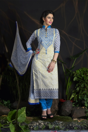 A G Lifestyle Off White Chanderi Cotton Dress Material with Matching Dupatta MLN10003