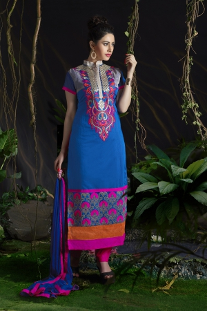 A G Lifestyle Blue Chanderi Cotton Dress Material with Matching Dupatta MLN10010