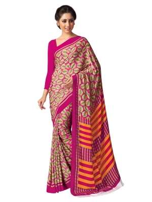 A G Lifestyle Pink And Beige Kastoori Silk Saree with Unstitched Blouse SD104