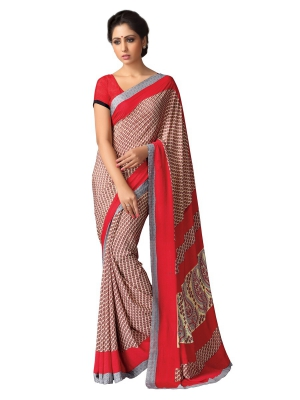 A G Lifestyle Beige And Red Kastoori Silk Saree with Unstitched Blouse SD111