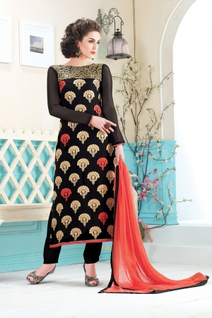 A G Lifestyle Black Georgette Straight Fit Semi Stitched Salwar Suit SHA7064