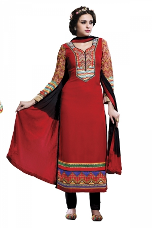 A G Lifestyle Red Faux Georgette Straight Fit Salwar Suit SIM205