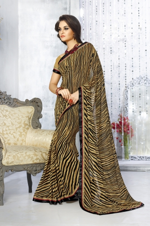 A G Lifestyle Beige Georgette Saree with Unstitched Blouse SNS222A