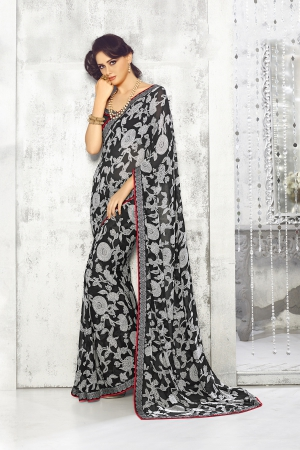 A G Lifestyle Black And Gray Georgette Saree with Unstitched Blouse SNS223