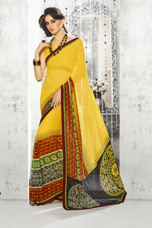 A G Lifestyle Yellow Georgette Saree with Unstitched Blouse SNS224B