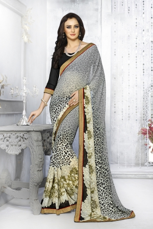 A G Lifestyle Gray Georgette Saree with Unstitched Blouse SNS227B