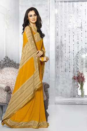 A G Lifestyle Yellow Georgette Saree with Unstitched Blouse SNS230A