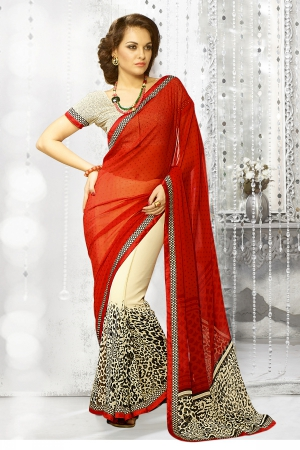 A G Lifestyle Beige And Red Georgette Saree with Unstitched Blouse SNS233B